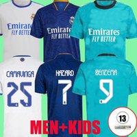 ريال مدريد الفانيلة 21 22 كرة القدم قمصان كرة القدم Alaba Hazard Benzema Comavinga Madric Kroos Vini JR Casemiro الثالث Camiseta Men Kids 2021 2022 Fans Player