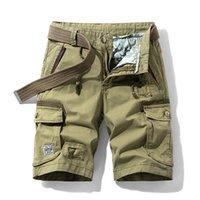 Chaifenko 2021 verano nuevo algodón pantalones cortos de carga hombres ocasionales multil-bolsillo pantalones cortos militares pantalones sueltos trabajo ejército táctico shorts hombres