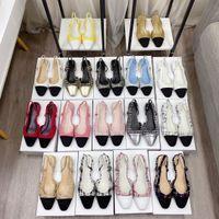 2021 100% Cuero Sandalias Sandalias Summer Lujos Diseñadores Tacones Altos Zapatos Single Partido Trabajo Mary Jane