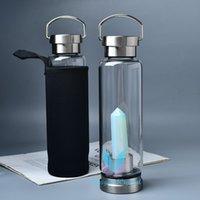 Kristallpunkt Flasche Tragbare Natürliche Reiki Quarz Edelstein Point Cup Edelstahl Multi-farbige Getränke Heilung 500ml Wandern Camping Hydratation Zubehör