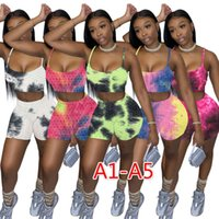Summer Womens Tracksuits Sexy Two Piece Sets Shorts Outfits Pineapple Cloth Tie Dye Yoga Suits Casual Sling Pants Plus Size