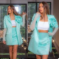 Unique Design Blazer Dress Suits Mint Green Long Sleeve Women Outfits Formal Evening Party Prom Wear (Jacket+Skirts)