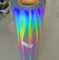"Levha 10 ""x 80"" / 25 cm x 200 cm Hologram Gökkuşağı Lazer Renkli Isı Transferi Vinil Isı Basın T-shirt Demir HTV Baskı DFF2640"