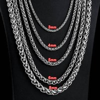 3mm 4mm 5mm 6mm Stainless Steel Necklace Spiga Wheat Chain Link for Men 45cm-75cm Length with Velvet Bag