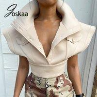Женские жилеты Joskaa ArricoT Down-Down-воротник Одиночная погружная культура Топ Женщины Летающие рукава Повседневная Жилет Пальто Осень 2021 Модная уличная одежда