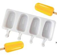 Mutfak Aletleri Gıda Güvenli Silikon Dondurma Kalıpları 4 Hücre Dondurulmuş Popsicle Maker DIY Ücretsiz Sticks Ile DIY Ev Yapımı Dondurucu Lolly Kalıp HWF6619