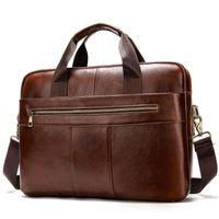 Briefcases Casual Genuine Leather Men Briefcase Waterproof Shoulder Bag Luxury Desinger Male Business Laptop Bags Mens Handbag Large