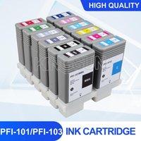 Tintenpatronen 12pcs PFI101 PFI103 Kompatible Patrone voll mit Chip für Canon IPF5000 IPF5100 IPF6100 IPF6200 130ml