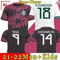 Camisa de futebol do México home preto purpal Copa america 20 21 CHICHARITO A. GUARDADO H. LOZANO HERRERA DOS SANTOS 2021 camisa de futebol masculino + infantil uniformes maillots