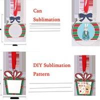 크리스마스 장식 승화 크리스마스 트리 펜던트 아연 합금 활 패턴 장식 빈 DIY 가족 사진 교수형 액세서리