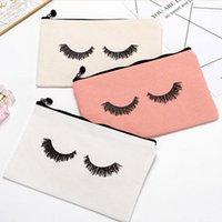 Storage Bags 50pcs lot 23cmx14.5cm Large Canvas Eye Lashes Printed Woman Drawstring Makeup Bag Zipper Clutch Cosmetic Organizer