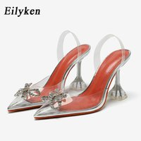 Eilyken PVC Transparent Butterfly-knot Women Pumps Crystal Pointy Toe Perspex Spike Heel Back Strap Sandals shoes 210331
