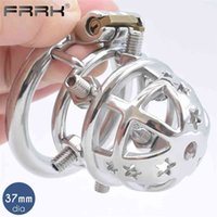 FRRK Spiked Cock Cage Erect Denial Vicious Male Chastity Device Brutal BDSM Stimulate Screw Sissy Penis Ring Tough Sex Toys 210624