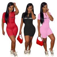 Yaz kadın tulumlar şanslı etiket seksi bodycon bodysuit kısa kollu bodysuits tek parça tulum mektubu XL gece kulübü tulum 5140