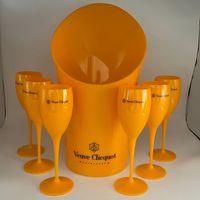1 دلو الجليد 6 زجاجي حزب صغير كوكتيل الشمبانيا المزامير كأس البلاستيك البرتقالي الويسكي أكواب ومبرد