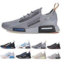 Nasa X Nmd R1 Spectoo Mens Running Shoes Triple Black White Unc University Blue Orange Breathable Mesh Knit Men Women Trainers Sports