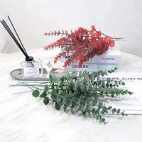 Flores Decorativas Grinaldas Artificial Eucalipto Folha Lifelike Plantas Plástico Folhas Falas De Folhas De Eucalipto Casamento Vermelho Verde Decoração Home Vermelho