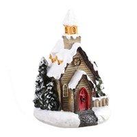 Natale led giocattolo decorazioni resina piccola casa micro paesaggio castello ornamenti regali di Natale