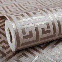 Wallpapers Gardenwallpapers Décor Home & Gardenwholesale-Contemporary Modern Geometric Wallpaper Neutral Greek Key Design Pvc Wall Paper For