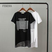Fekeha Summer T-shirt Long T-shirt Femmes Lettre Noir T-shirt Blanc Sexy Manches courtes Mince Femmes Coton Tops T-shirts Tshirt Femme