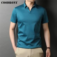 Men's Polos COODRONY Brand High Quality Summer Cool Pure Color Casual Short Sleeve 100% Cotton -Shirt Men Slim Fit Clothing C5198S