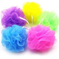 100pcs multi colori 15G bagno doccia spugna pouf boofahs nylon maglia spazzola doccia palla pizzo bordo mesh bagno 1208 V2