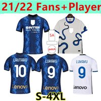 Taille: S-4XL Jersey Inter Soccer Lukaku Milan Vidal Barella Lautaro Eriksen Alexis Hakimi Chemise de football 2021 2022 Fans + Version du joueur Uniformes