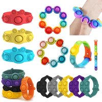 Regnbåge push bubble armband fidget leksak barn vuxen antistress sensory pedagogiska leksaker tie-färge bärbara reliver stress leksaker