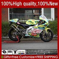 Kit de corpo para Aprilia RS-250 RSV250 RS RS250 RS250R 95 96 97 Verde Amarelo 24no.40 RSV250R RSV250RR 1995 1996 1997 RSV-250 RS250RR 95-97 Fairing da motocicleta