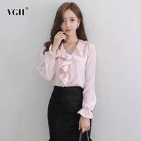 VGH Patchwork Fırfır Çiçek Gömlek Kadınlar Için V Boyun Flare Uzun Kollu Zarif Mizaç Bluz Kadın Moda Yeni Giyim 210421