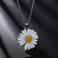 Fashion Daisy Pendant Necklace Men Women Trendy Simple Stainless Steel Chain Jewelry Gift Chains