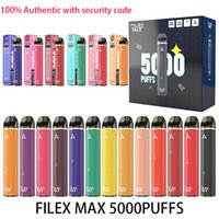 100% аутентичные сигареты перезаряжаемые одноразовые электронно-сигареты 950 мАч батарея 12 мл цена с кодом безопасности Vape Pen 5000 Puffs High емкости Filex Max