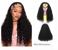 100% Human Hair Grip Headband Scarf Wig Water Wave Human Hair Wig No plucking wigs for Women No Glue No Sew In