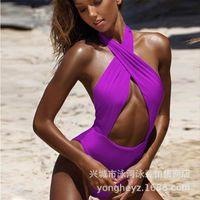 Paño de vendaje sexy para mujer Backless Cross Cross Halter Multicolor Apretado traje de baño Mujer Thong Bikini Thong Bikini Trajes de dos piezas