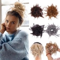 Synthetic Chignon Messy Scrunchies Elastic Short Band Hair Bun Straight Updo Hairpiece High Temperture Fiber Natural Fake