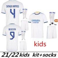 Real Madrid Jerseys 21 22 Benzema Mbappe Alaba Soccer Jersey Madric Hazard Asensio Casemiro Vinicius Jr. قميص كرة القدم رجل الاطفال مجموعات زي السراويل الجوارب