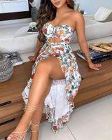 Spring Summer Women Fashion Sexy Elegant Bandeau Floral Butterfly Print Cutout High Slit Dress Beachwear Women's Swimwear