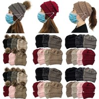 42 Style Women Winter Warm Knitted Hat Party Hats Fashion Ponytail Beanies Solid Color Knitting Cap With mask function by sea T9I001533