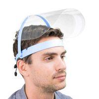 US Stock Transparent Face Shield Protective Mask Full Face Shield Masks Particulate Respirator Hat Mask Saliva Transmission Masks