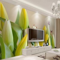 Wallpapers Custom Po Wallpaper 3D Stereo Tulip Flowers Butterfly Fresco Living Room TV Sofa Bedroom Home Decor Background Wall Papers