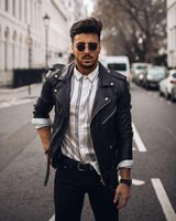 Men' s Motorized Distressed Leather Jacket Dress Clothes...