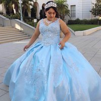 Sparkly Light Blue Sequined Fabric 2021 Quinceanera Prom Dresses Charro mexican Plus size V neck Lace Crystal Sweet 16 Vestido De 15 Anos