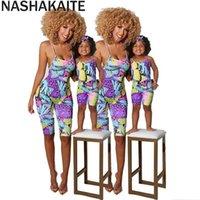 Nashakaite Summer Madre e hija Ropa Imprimir Sling Mabado Sin mangas Sin espalda Mamélicos Mamá ME Outfits 210724