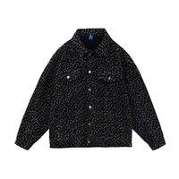 레오파드 포켓 망 청바지 재킷 힙합 옷깃 씻어 스타일 캐주얼 데님 코트 느슨한 커플 옷