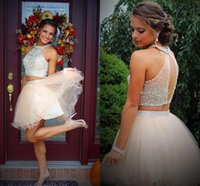 Two Pieces Sexy Halter Homecoming Dresses 2021 Girls Graduation Gowns Sparkly Crystals Heavy Beading Short Prom Dress Tulle Night Club Cocktail Party Wear AL9337