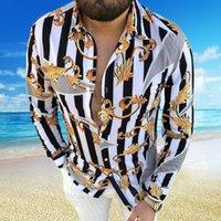Stora storlekar 3XL Mäns Casual Vintage Chemisier T Shirts Långärmad Fall Hawaiian Camicetta Skjorta Lös passform Blusa Mönster Man Kläder XXXL Blouse