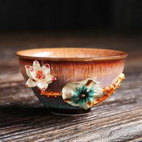 Cups & Saucers Ceramic Kiln Change Gold And Silver Inlay Tea Cup Creative Porcelain 3D Lotus Peach Plum Master Office Set