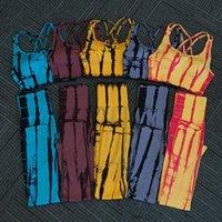 Женские два куска брюки нормов наборы женщин летом бюджетные бюстгальтеры и тренировки толчок высокой талии леггинсы костюм фитнес галстук красит женское дыхание