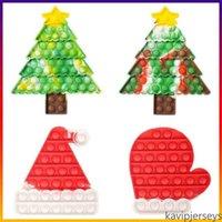 EEUU Stock Navidad Árbol de Navidad Martito Forma Burbuja Poppers Pulso Pop Fidget Juguetes Sensorios Burbujas Tablero Tarita Dye Navidad Santa Cláusula Hat Caps Mitt Poo-su dedo Puzzle