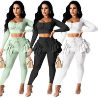 fashion women long sleeve sportswear two piece set tracksuits outfits trousers sweatsuit pullover tights legging suits S-XXL
